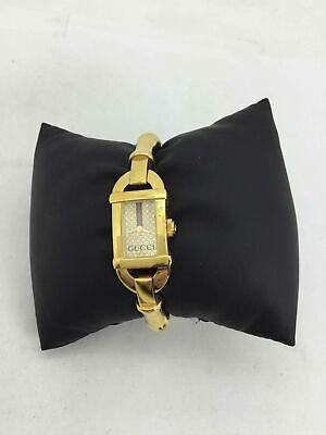 Vintage Gucci Yellow Goldtone Bamboo Wrist Watch