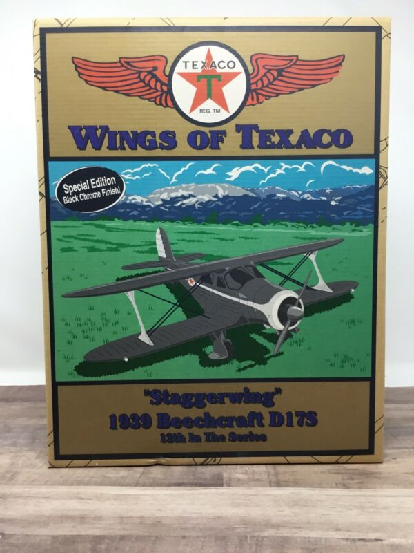 Wings Of Texaco Staggerwing 1939 Beechcraft D17S 12th In Series Black Chrome NIB