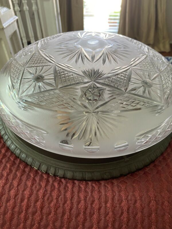 Cut Glass and Brass French Light Fxture Flush Mount Vintage Antique