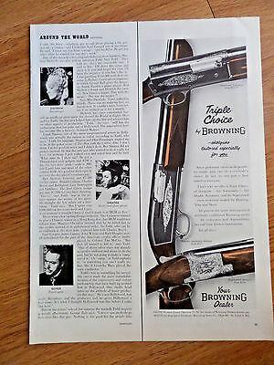 1956 Browning Shotguns Ad Triple Choice