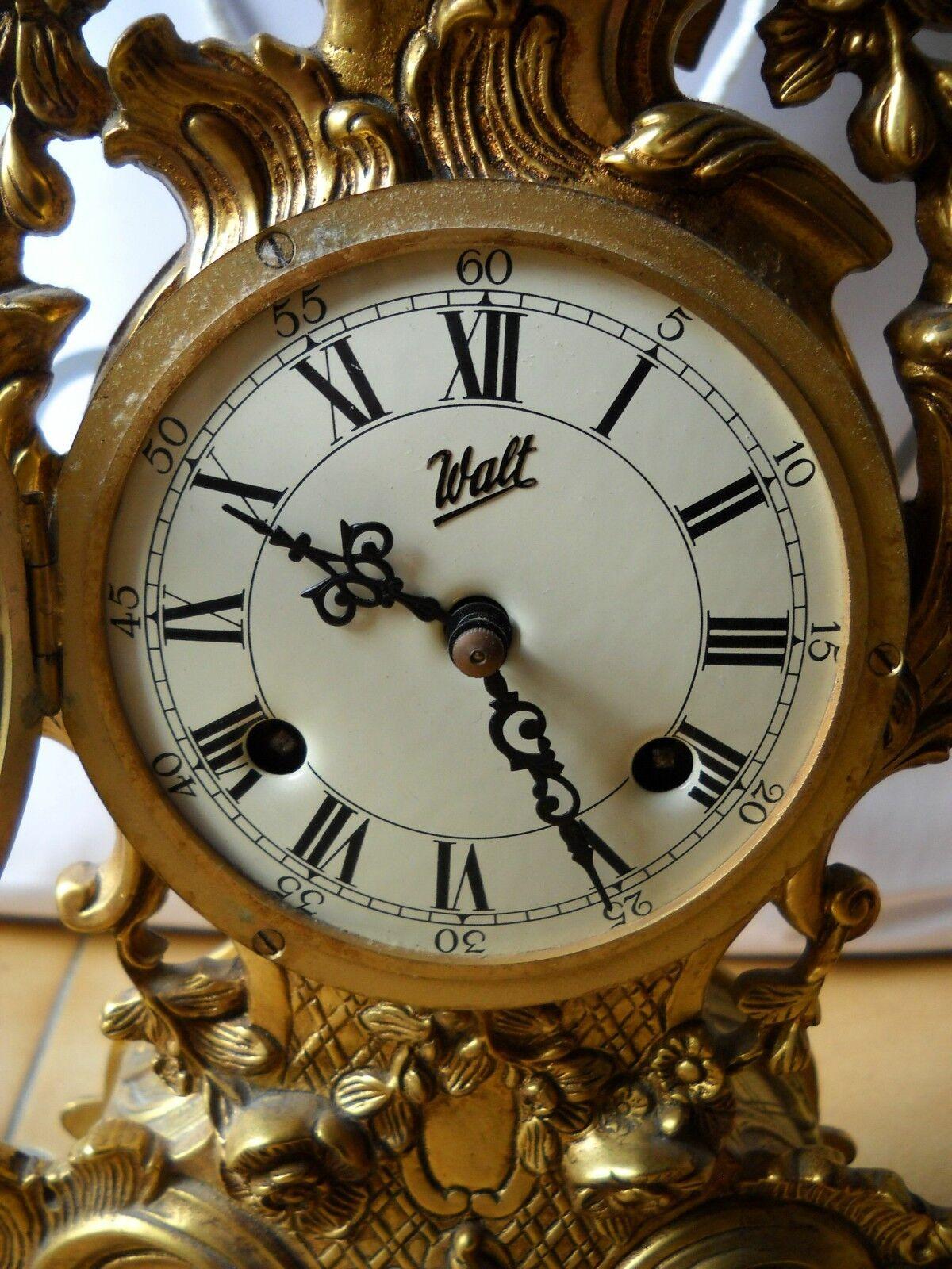 Orologio antico da camino tavolo in bronzo dorato walt - Orologio da tavolo antico ...