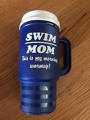 Swim Mom Blue Coffee Thermos Mug, Gently