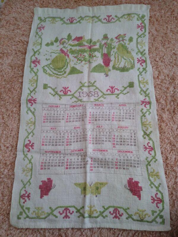 Vintage 1958 Linen Cloth Kitchen Calendar Wall Hanging Tea Towel Pioneer Theme