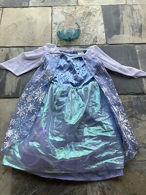 Disney Frozen Elsa Dress up Costume Play Size 4-6x Light up/ 2x Crown