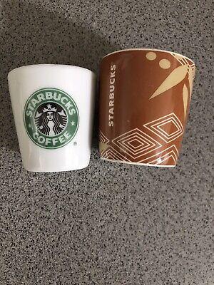 Starbucks Set Of 2 Espresso 1oz And 3oz Shot Glasses White Porcelain Rare Bamboo