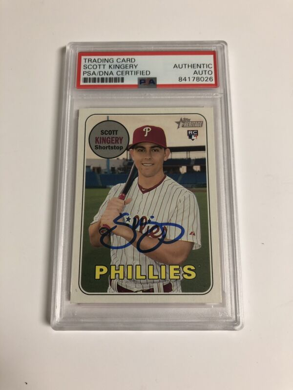 Autographed Scott Kingery Topps Heritage Rookie Card PSA Certified Signed