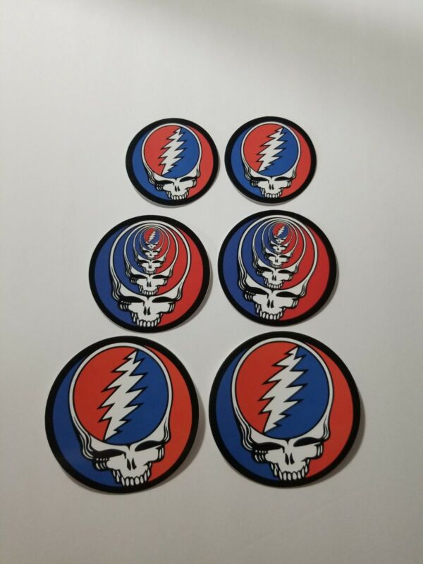 6 Grateful Dead Steal Your Face Stickers.