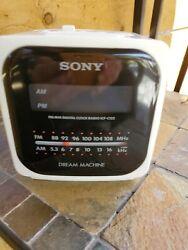 Vintage Sony ICF-C122 Cube Dream Machine AM/FM Alarm Digital Clock Radio Cream