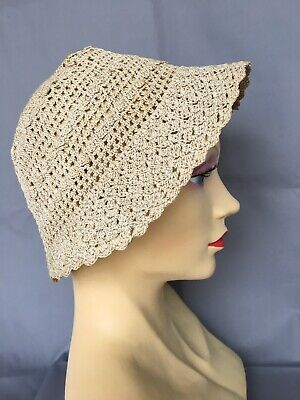 Vintage Crochet Small Ladies Girls Sun Cloche Hat Bonnet Festival 1960s Style