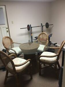 Rattan Table Chairs and Hutch