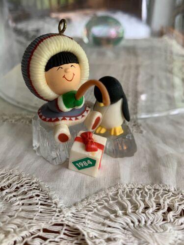 1984 Hallmark Frosty Friends Fishing Christmas Ornament 5th ~ No Box/ Penguin