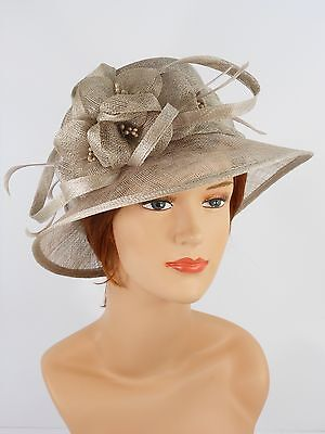 New Woman Church Derby Wedding Party Sinamay Dress Hat 7045 Gray