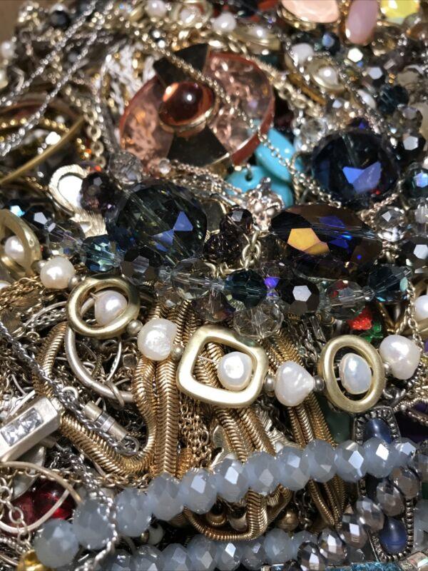 11 LBS METAL Wearable Metal Metallic Jewelry LOT Chain Necklaces Bracelets +++