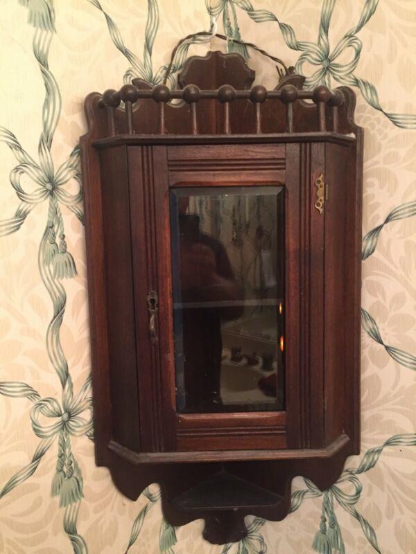 Antique American Oak Hanging Corner Cabinet Beveled Glass Doors