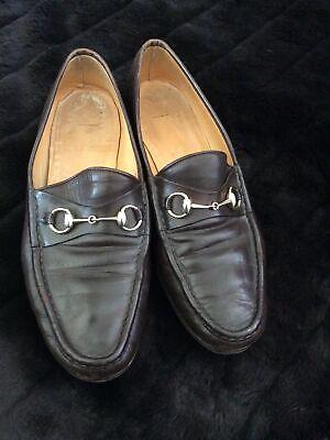 Vtg Gucci Brown Leather Horsebit Loafers Shoes Men's 46 Sz 13 US