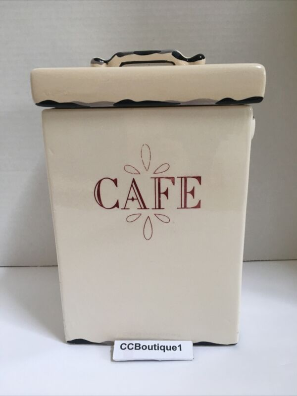 """Vintage Farmhouse Cottage """"CAFE"""" Ceramic Canister With Lid"""