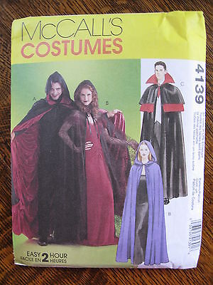 McCall's 4139 Sewing Pattern Cosplay Halloween Dracula Wizard Cape All Sz Uncut
