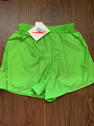Vintage Neon Green Speedo Windbreaker Shorts High Waisted Deadstock 1990s USA