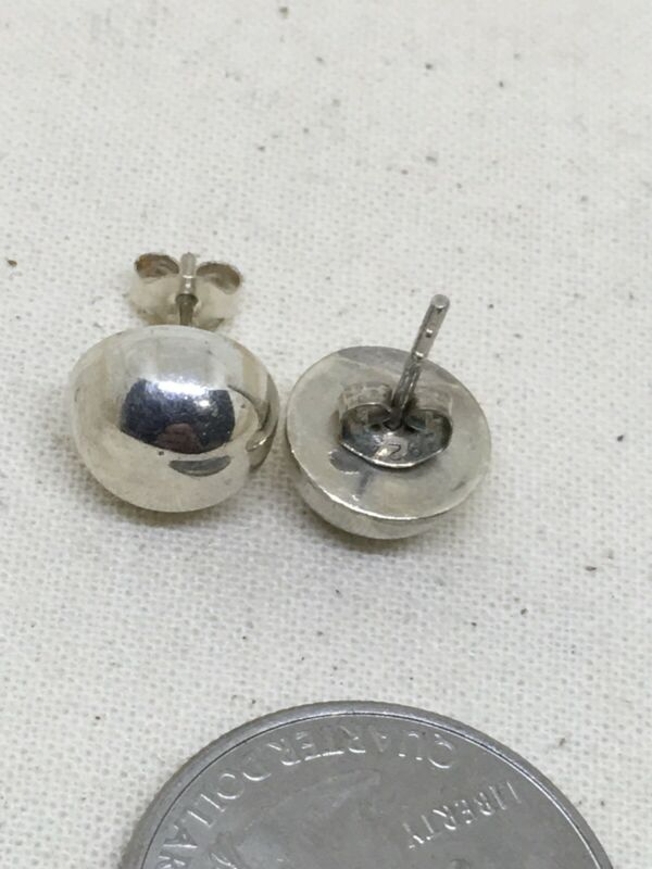 Sterling Silver 10mm Half Dome Post Earrings 2.7g (1-17)