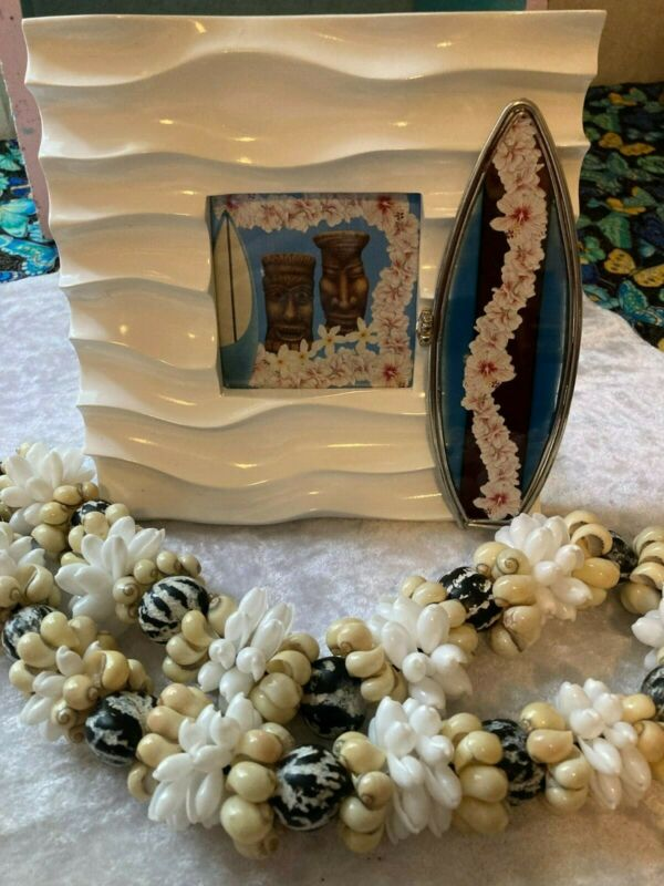 Genuine Hawaiian Lei Kuiki Nut Bubble Shell And OOAK Art Frame Lot