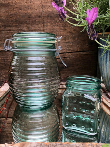 Nice Vintage Beehive Green Glass Jar Container & Small Jar CANADA - LOT OF 2