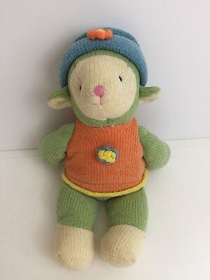 "Russ Berrie Wootles 12"" Knit Easter Lamb Plush Toy Cream Green Blue Hat"