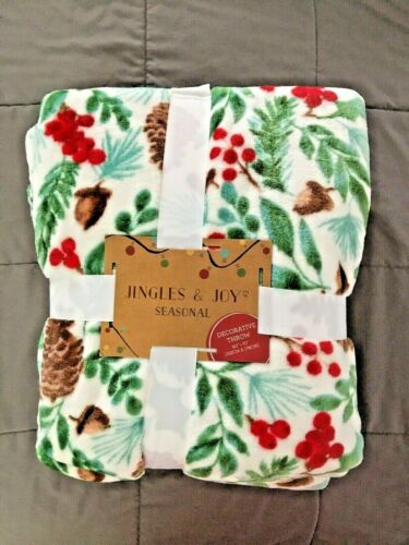"NEW: JINGLES & JOY SEASONAL THROW BLANKET 60""x70"" CHRISTMAS HOLIDAY COLORS C13"