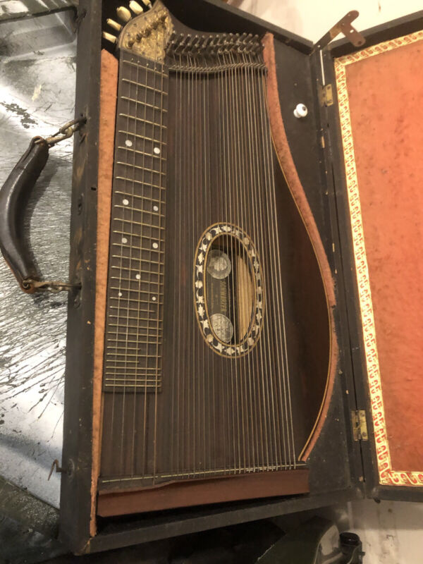Antique Zither Rosewood w/ Inlay & Engrave 32 String Concert Model Munich 1842