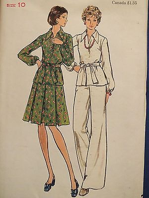 Pleated Top & Belted Pants - Amazing VTG 60s BUTTERICK 3620 MS Top Pleated Skirt Pants & Belt PATTERN 10 UC