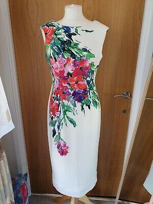 Julian Taylor White Floral Midi Maxi Bodycon Pencil Dress Size 8
