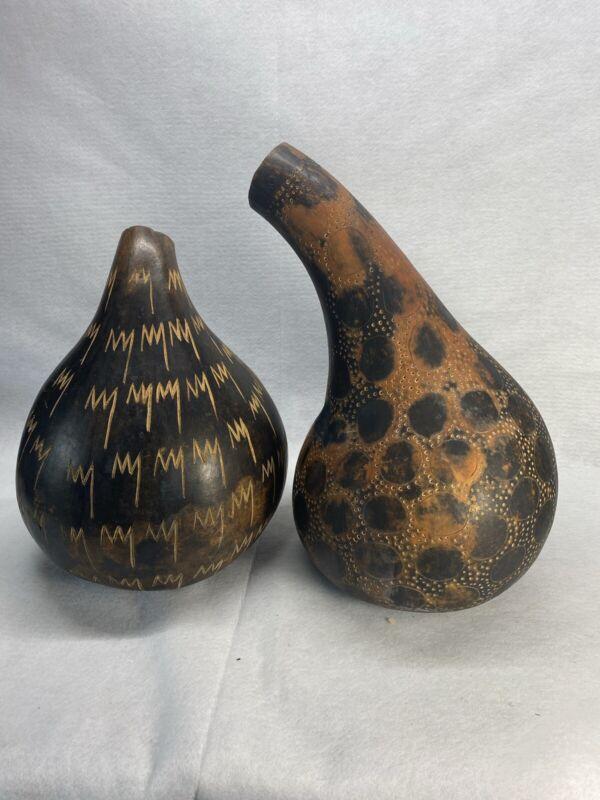 Two Large African Gourds Calabash - Vintage Kenya Tribal Folk Art - Patterns