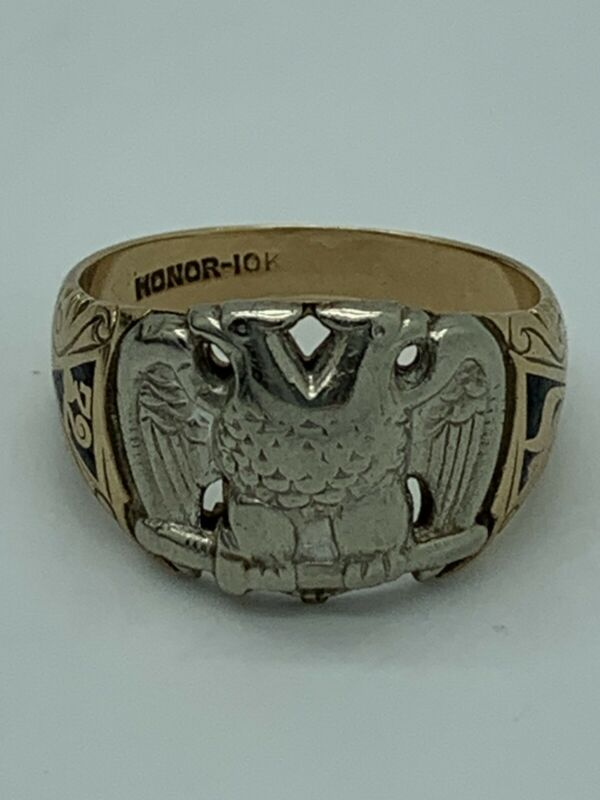 10k Yellow Gold Double Eagle Masonic Scottish Rite 32nd Degree Ring Size 10.25