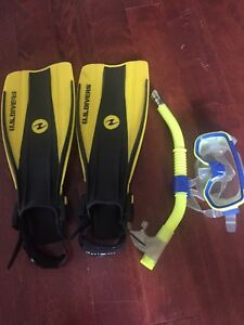 Kids fins, mask and snorkel for pool fun or ocean snorkeling