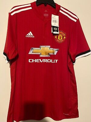 Mens Large MANCHESTER UNITED Adidas Chevrolet Sponsor Soccer Jersey New With Tag