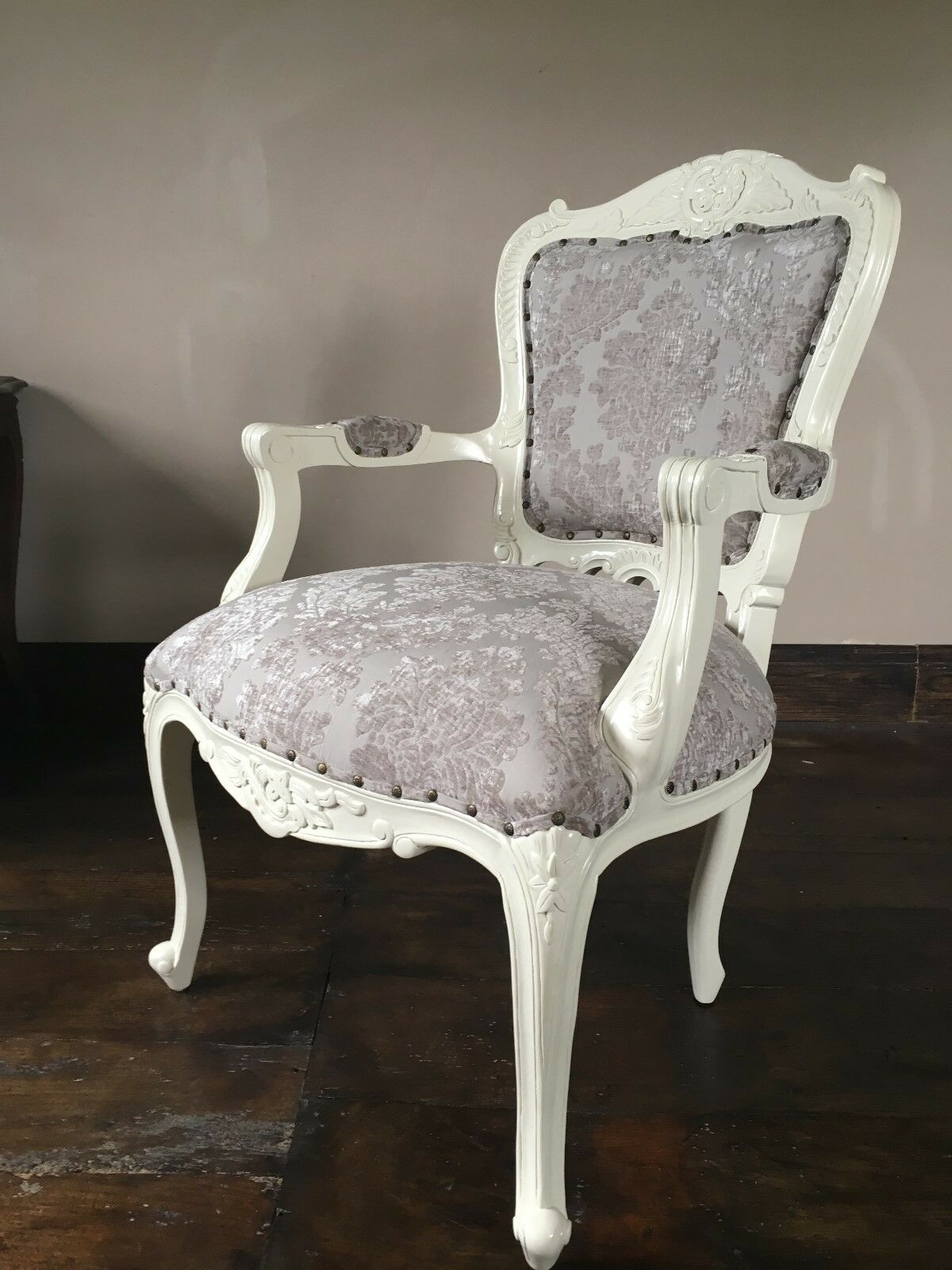French Louis style Shabby Chic Cream Crushed Velvet Chair cream wooden frame