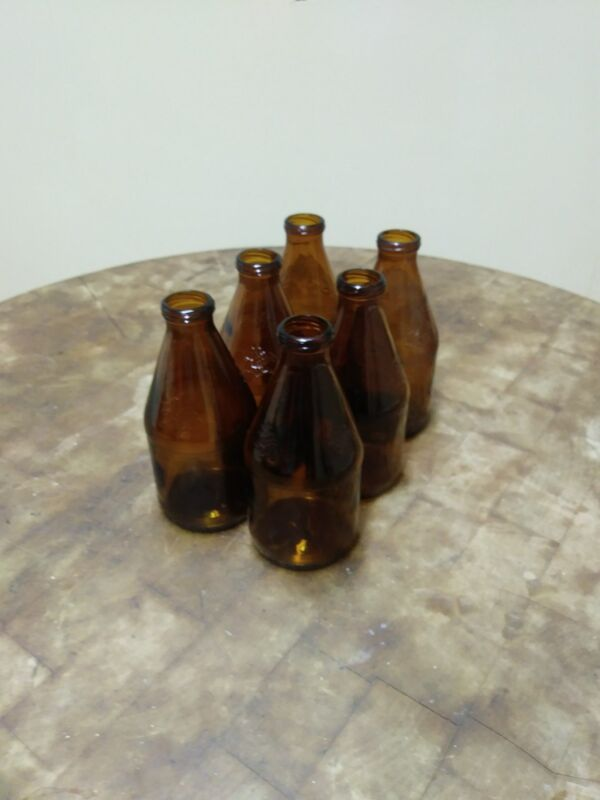 6 Pack Vintage Rare Brown Amber 1970