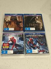 3D Blu Ray The Hobbit 1 & 2 AND Spider-Man 1 & 2 (4 Titles In Total) Rowville Knox Area Preview