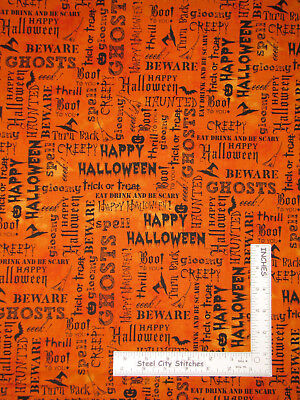 Halloween Words Black Orange Cotton Fabric Windham Eat Drink Scary By The - The Words Halloween