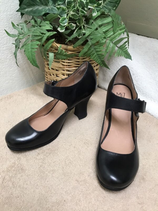 Miz Mooz Kora Black Leather Mary Janes Pumps Shoes 8 NWOB
