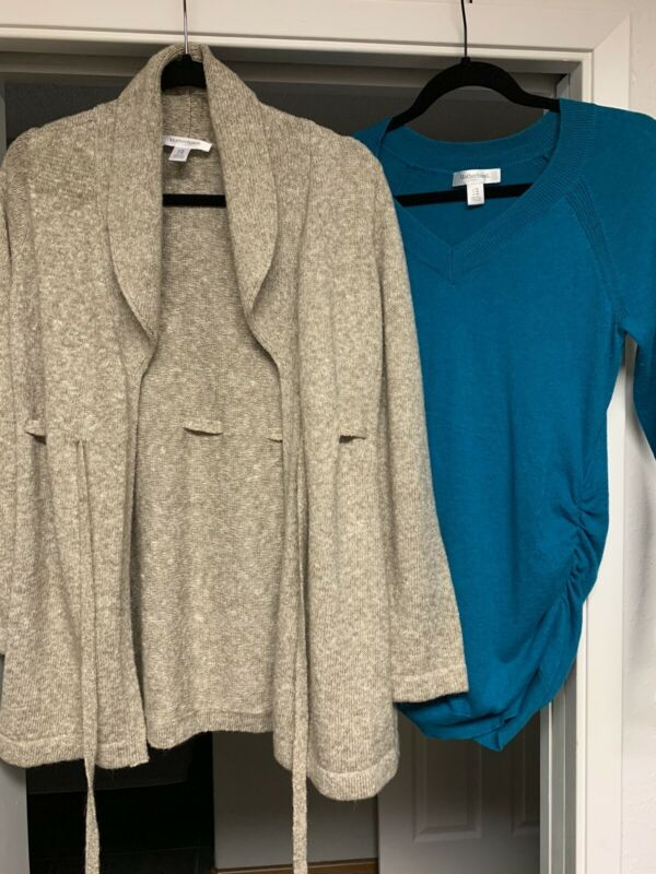 Motherhood Maternity Sweater & Cardigan Size M Blue and Brown/Tan
