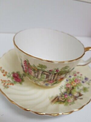 Aynsley Fine Bone China Cup & Saucer Ribbed - Garden and Manor House Scene C1124 China Manor House