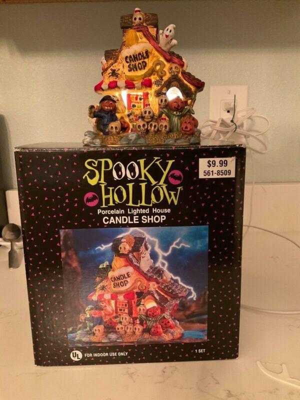 spooky hollow candle shop. 3 pieces porcelain house, power cord, lightbulb