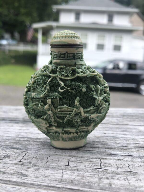 Vintage Carved Chinese Jade Colored Snuff Bottle Jar