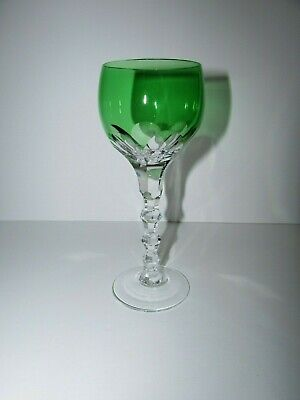 Green Cut to Clear Crystal Wine Glass -