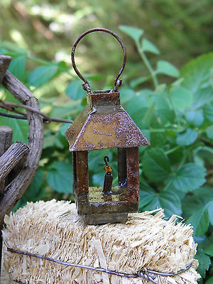 Miniature Dollhouse FAIRY GARDEN ~ Rustic Antiqued Metal Lantern ~ NEW