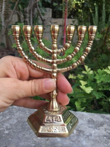 """Amazing Classic Gold Plated Jewish Menorah 7 Branches 5"""" /13cm painted candle"""