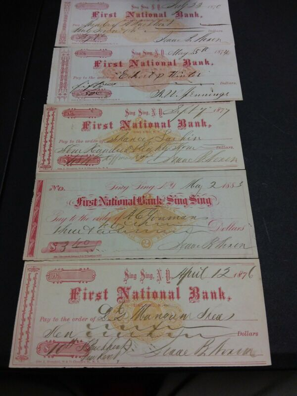 5 OLD CHECKS SING SING NY 1870 - 1883 REVENUE STAMPED PAPER