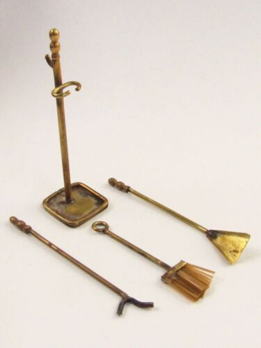 Vintage Dollhouse Miniature Artisan Made Brass Fireplace Tool Set E539
