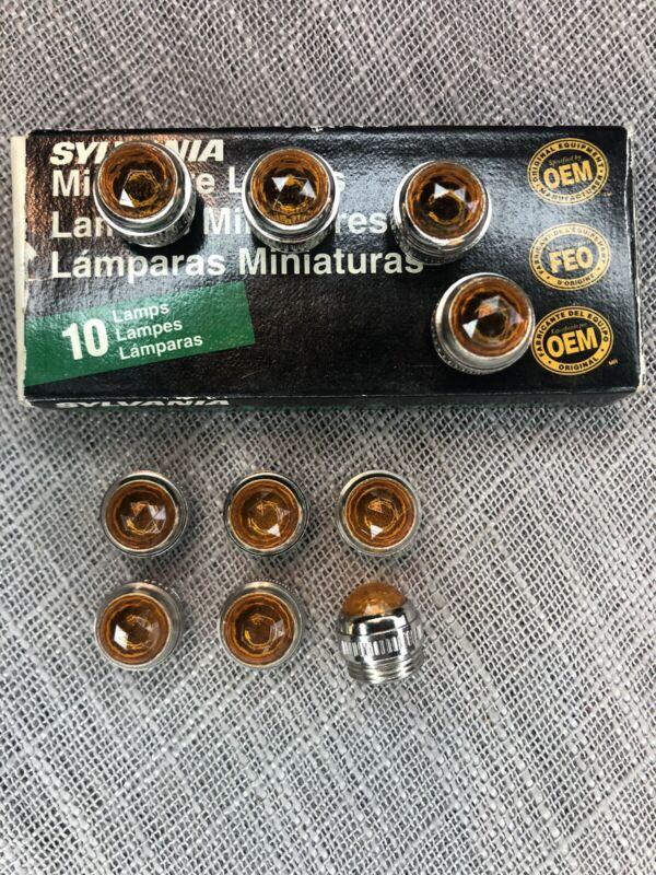 10 USA NOS Sylvania Miniature Lamp Bulbs Pilot JLR 30106 321270 Amber Jewel Lens