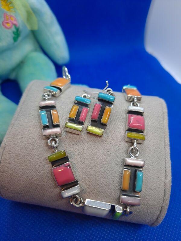 925 Sterling Silver Multi Color Rectangle Station Bracelet W/Matching...